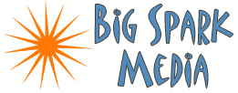 logo big spark media blue and orange mobile menu