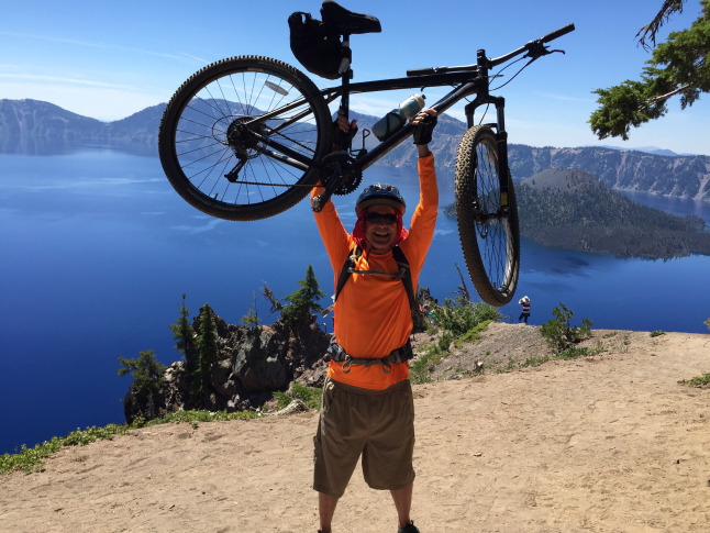 mark johnson mountain biking at crater lake rim 2015